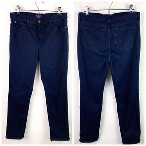 NYDJ jeans Georgia skinny 10 stretch dk blue